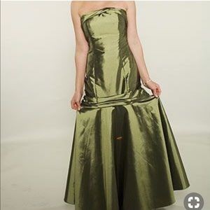 David's Bridal strapless mermaid olive gown